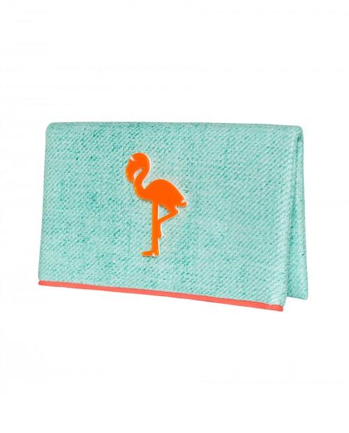 KOKU Yeşil Turuncu Flamingo Çanta