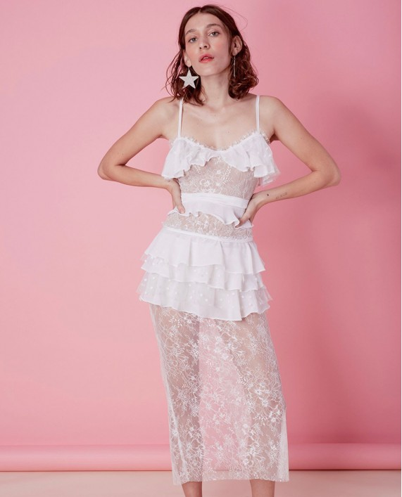 For Love and Lemons Cosmic Midi Dantelli Elbise
