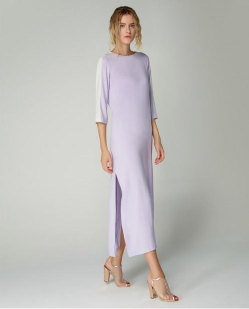 Atelier 55 Yeni Sezon Lila Yeşil İpek Elbise